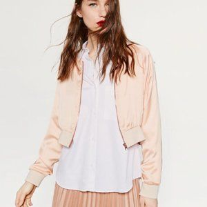 Zara | Pink Blush Satin Cropped Bomber Jacket Med